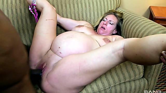 Pregnant blonde slut Reina Red loves having sex with a long black dick