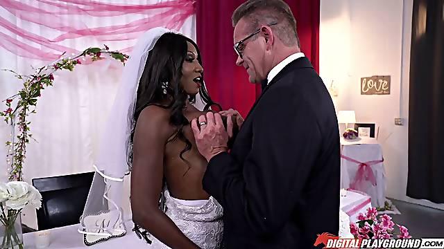 Interracial sex on the wedding day of ebony Diamond Jackson
