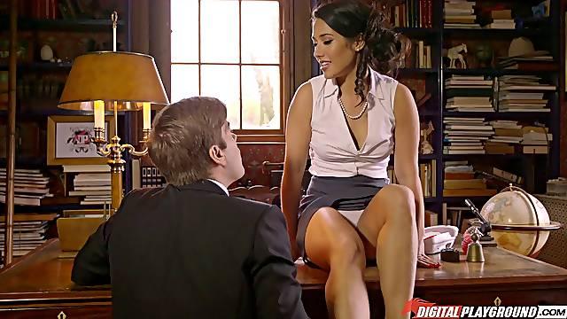 Latina pornstar Eva Lovia in miniskirt fucked on the office table