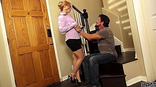Blonde Edyn Blair in high heels seduced by a horny neighbor