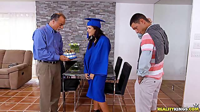 After graduation Keisha Grey grabs Tyler Steel's cock under the table