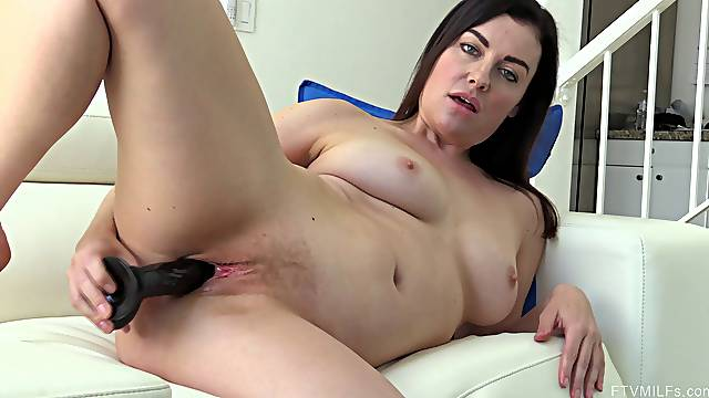 Horny amateur brunette Sovereign frills her pussy with sex toys