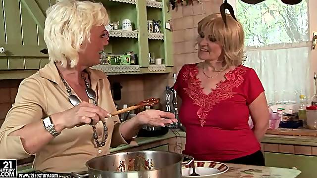 Cooking up something naughty with my granny and her buddy