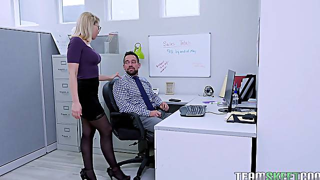 Nerdy blonde secretary Zoey Monroe takes one black and one white cock