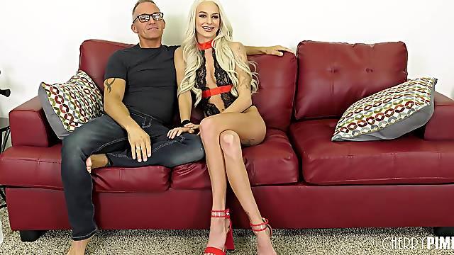 Slutty blonde MILF in high heels Emma Hix swallows every last drop
