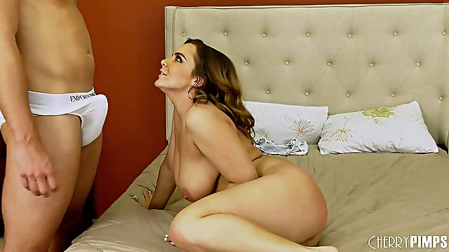 Busty blonde MILF Natasha Nice gets her big tits cum covered