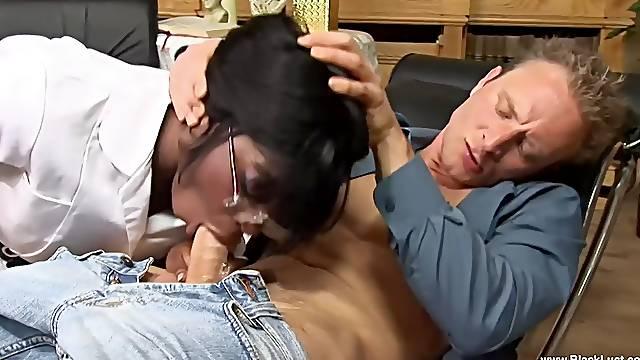 Ebony pornstar Jasmine Webb giving head and riding her boss