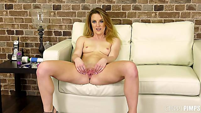Adorable blonde Kate Kennedy moans while playing with a vibrator