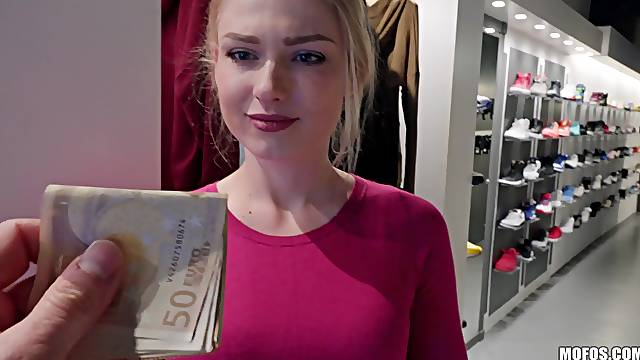 Sexy blonde girlfriend takes money and gets fucked in the public
