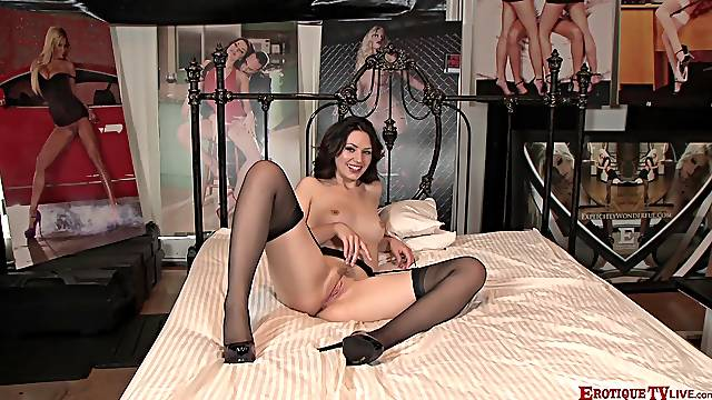Cock hungry whore Sarah Shevon enjoys having sex in stockings