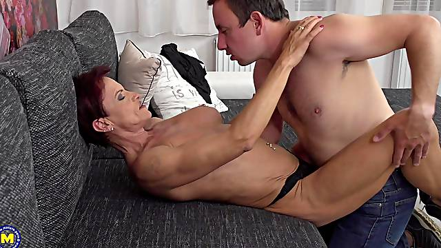 Short haired mature Kim O. with pierced nipples loves getting fucked