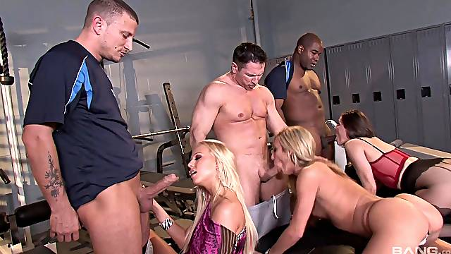 Double penetration group sex party with sexy model Bobbi Starr