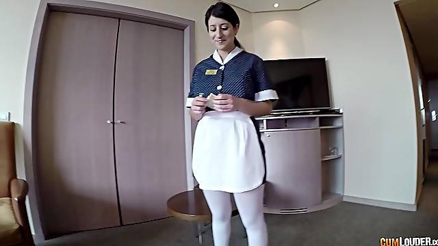 Brunette Latina maid Pamela Silva seduced to suck and ride a cock