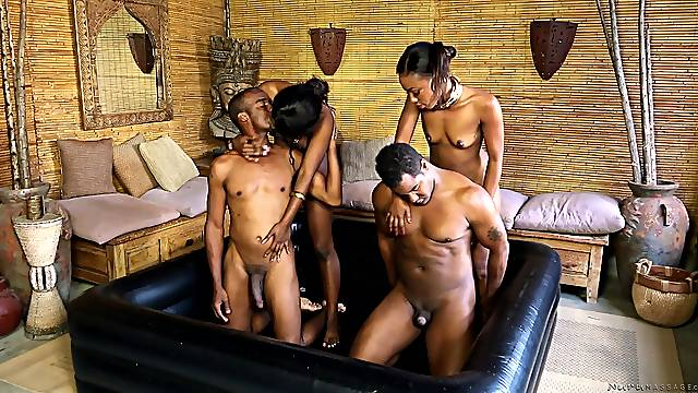 Ebony babes Chanell Heart and Skyler Nicole get cum shots in a foursome