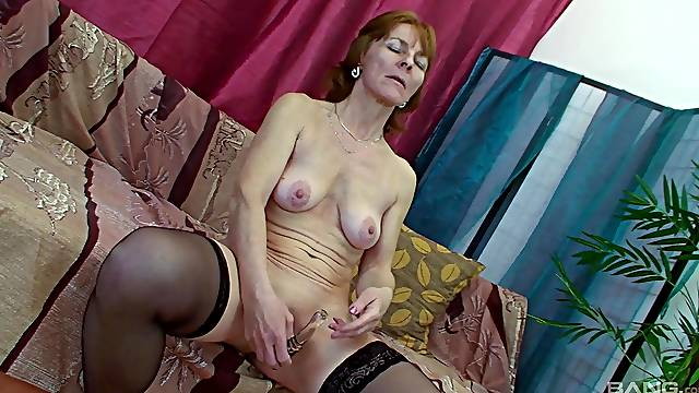 Skinny mature amateur redhead masturbates and gets fucked