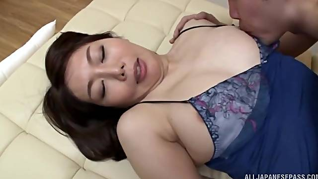 Busty Japanese brunette MILF Ono Sachiko fucked clothed