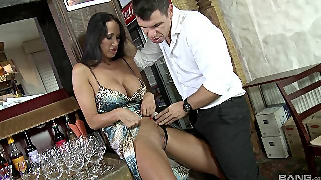 Mandy Bright gets double penetrated and eats cum in public