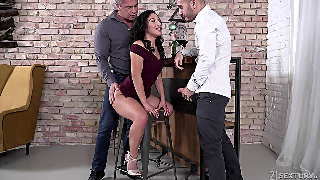 Double penetration and a mouth full of cum for Liv Revamped