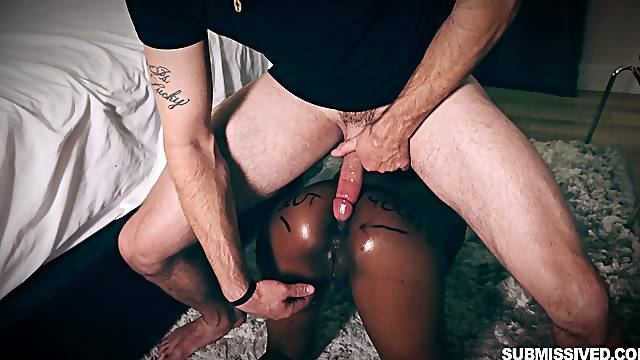 Curvy ebony babe Lola Chanel used and abused by a white guy
