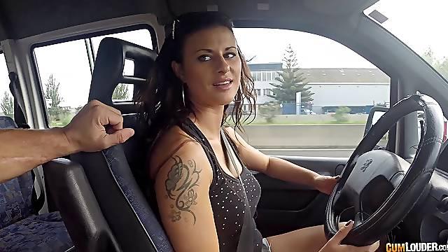 Tattooed Billie Star gets a cumshot on her big round ass