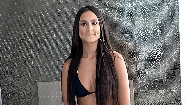 Brunette Eliza Ibarra glazed with cum in a hardcore gangbang