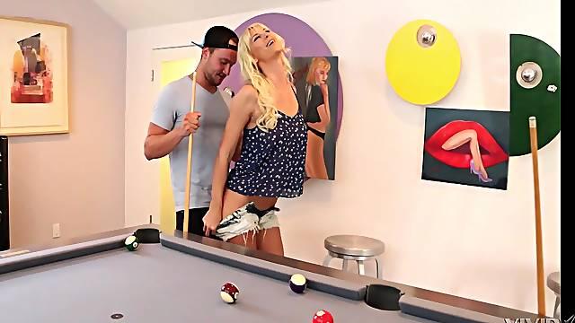 Tattooed mature slut Brooke Banner gets fucked bent over a pool table