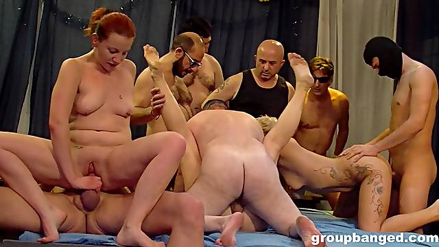 Large group sex party with a lot of amateur dudes and ladies