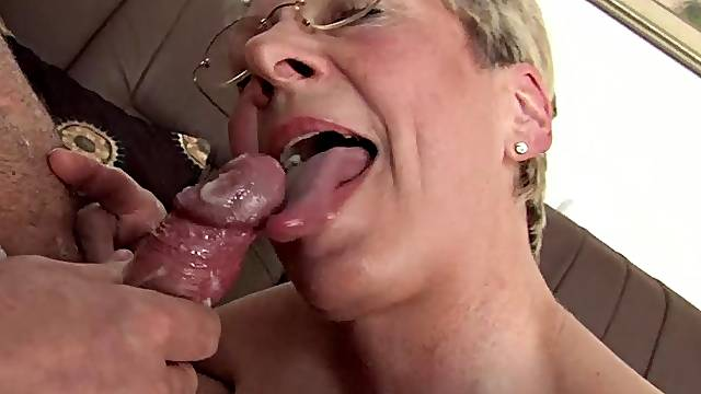 German mature with glasse on her knees sucking and getting fucked