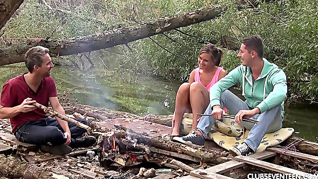MMF threesome with adorable girlfriend by the camping fire