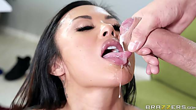Asian bombshell babe Kaylani Lei pounded doggy and gets cum in mouth