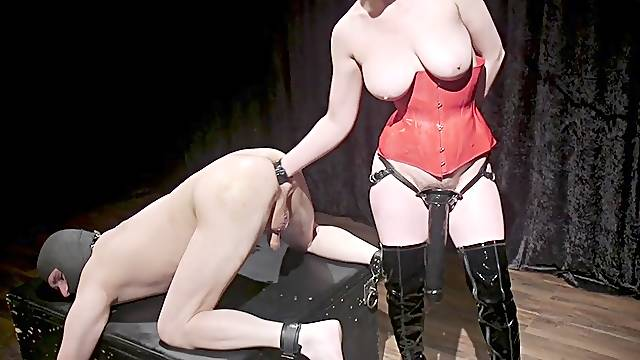 Cherry Torn tied up her male slave to fuck his ass with a strapon