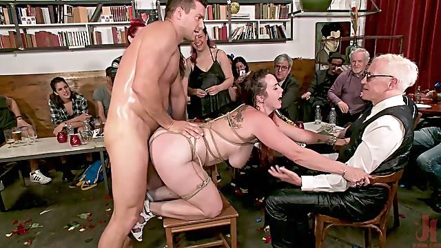 Public humiliation and fucking for dirty pornstar Bella Rossi