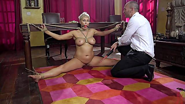 Hardcore fucking in mouth and pussy of tied up MILF Ryan Keely