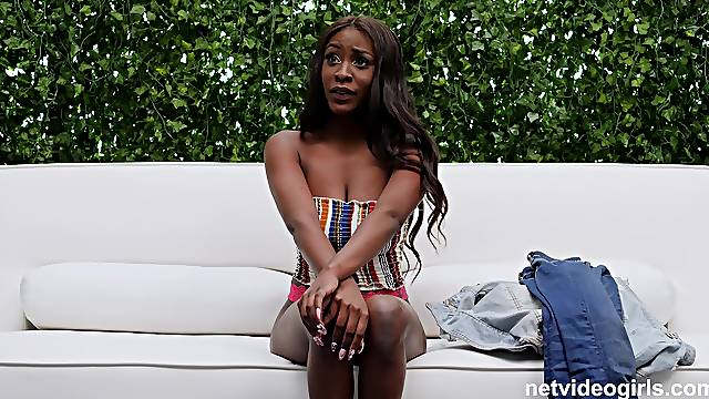 Ebony darling Katia drops her panties to ride a large white dick