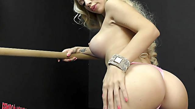 Sexy blonde solo model Bibi Noel pleasures her orgasmic pussy