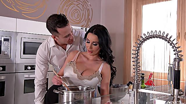 Fucking in the kitchen ends with cum on boobs for Patty Michova