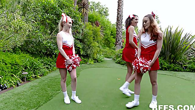 Lucky guy puts his cock in three wet pussies of 3 hot cheerleaders
