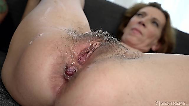 Horny milf Viol feeds her unshaved pussy with stranger's long penis