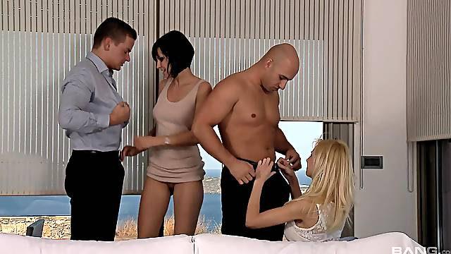 Foursome fucking on a bed with Anastasia Devine and Abbie Cat