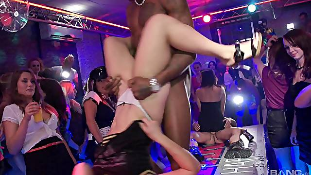 Horny ladies enjoys having sex with male strippers in a club