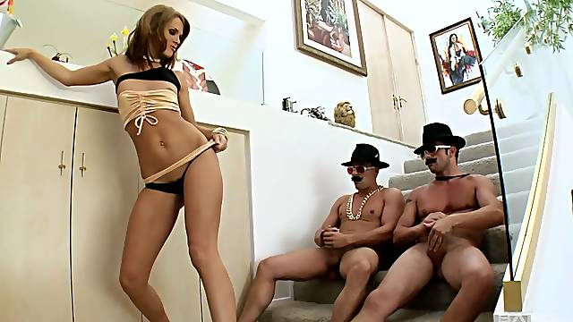 Two guys destroy holes of nice ass pornstar Jennifer Dark with DP
