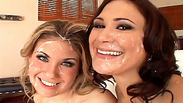 Group sex ends with a bukkake for Aubrey Adams and Zoe Angevine