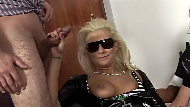Dirty MILF in leather fucked side by side with her best friends