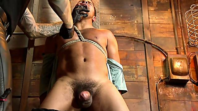 Smooth gay fucking from behind for a tied up amateur dude