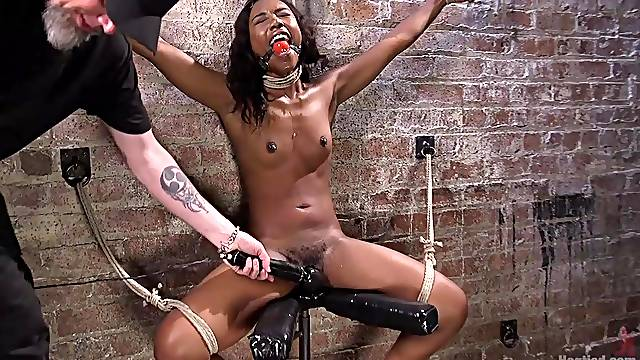 Dirty pervert tied up ebony hottie Chanell Heart to torture her