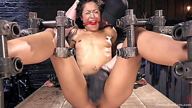 Skinny ebony babe Skin Diamond moans during hardcore torture