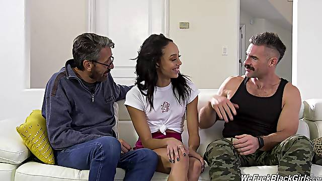 Trimmed pussy pornstar Alexis Tae fucked by two large dicks