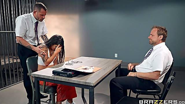 Female suspect Gina Valentina fucked on the table by a police detective