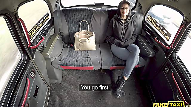 Hot ass brunette spreads her legs to be fucked by a taxi driver
