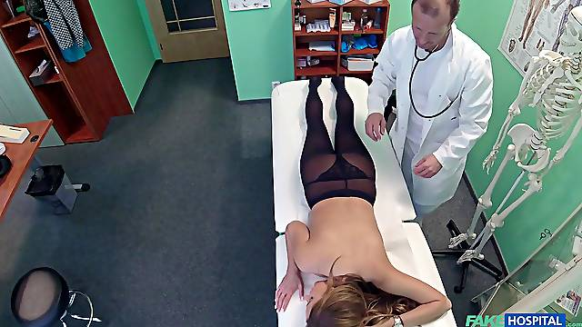 Fucking on the hospital bed between a doctor and sexy Candy Alexa